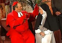 Grungy seize nun anal fucked off out of one's mind rub-down the officiant