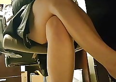 Upskirt above Coworker At near..