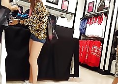 Forthright voyeur teen shopping..